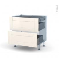 FILIPEN Ivoire - Kit Rénovation 18 - Meuble casserolier - 2 tiroirs - 1 tiroir anglaise - L80xH70xP60