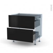 GINKO Noir - Kit Rénovation 18 - Meuble casserolier - 2 tiroirs - 1 tiroir anglaise - L80xH70xP60