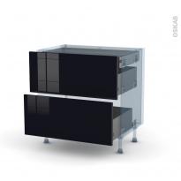 KERIA Noir - Kit Rénovation 18 - Meuble casserolier - 2 tiroirs - 1 tiroir anglaise - L80xH70xP60