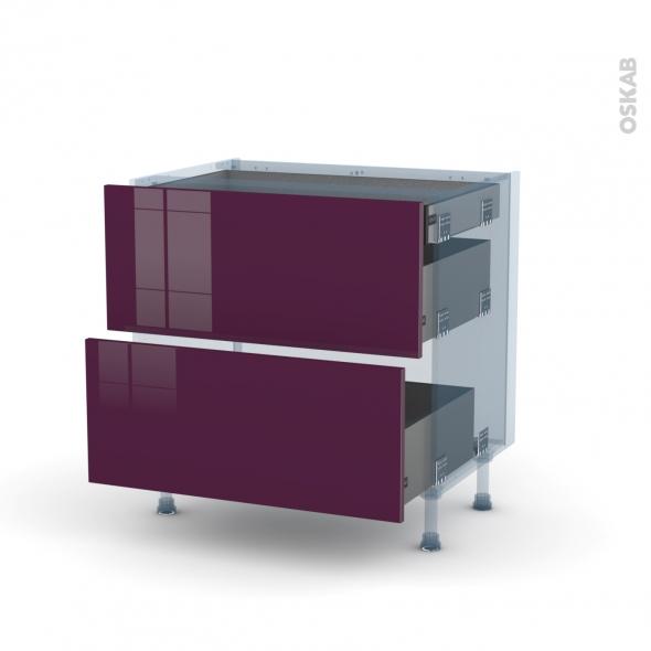 KERIA Aubergine - Kit Rénovation 18 - Meuble casserolier - 2 tiroirs - 1 tiroir anglaise - L80xH70xP60