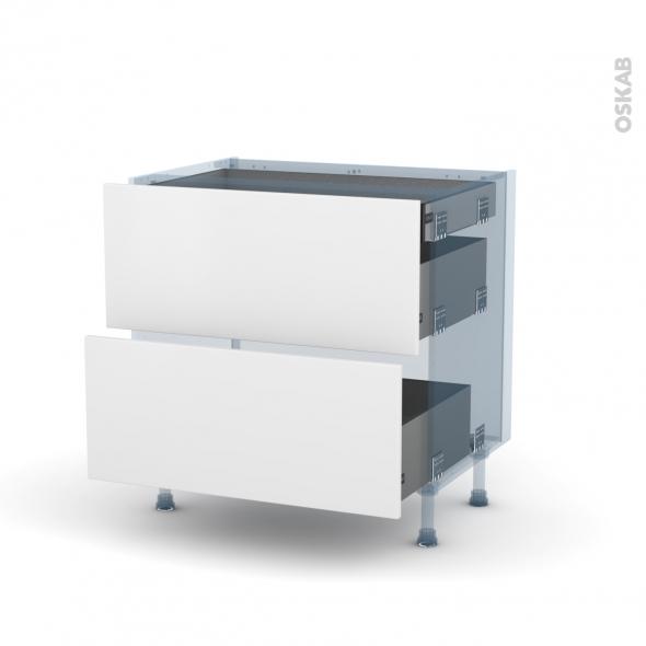 GINKO Blanc - Kit Rénovation 18 - Meuble casserolier - 2 tiroirs - 1 tiroir à l'anglaise - L80xH70xP60