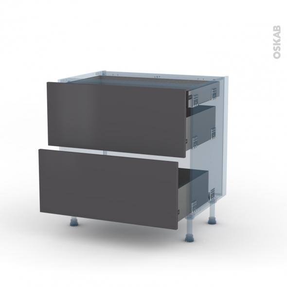 GINKO Gris - Kit Rénovation 18 - Meuble casserolier - 2 tiroirs - 1 tiroir anglaise - L80xH70xP60