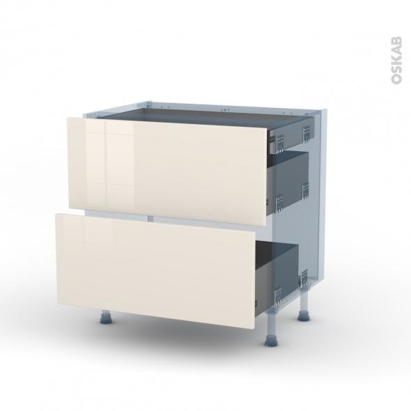 KERIA Ivoire - Kit Rénovation 18 - Meuble casserolier - 2 tiroirs - 1 tiroir anglaise - L80xH70xP60