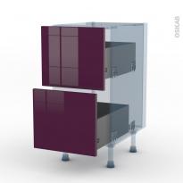 KERIA Aubergine - Kit Rénovation 18 - Meuble casserolier  - 2 tiroirs - L40xH70xP60
