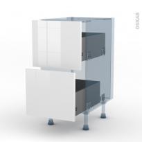 STECIA Blanc - Kit Rénovation 18 - Meuble casserolier  - 2 tiroirs - L40xH70xP60