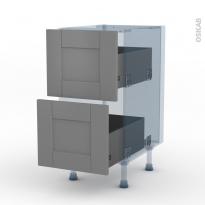 FILIPEN Gris - Kit Rénovation 18 - Meuble casserolier  - 2 tiroirs - L40xH70xP60