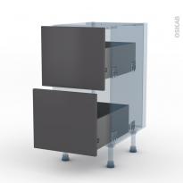 GINKO Gris - Kit Rénovation 18 - Meuble casserolier  - 2 tiroirs - L40xH70xP60