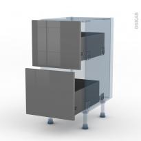 STECIA Gris - Kit Rénovation 18 - Meuble casserolier  - 2 tiroirs - L40xH70xP60