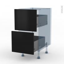 GINKO Noir - Kit Rénovation 18 - Meuble casserolier  - 2 tiroirs - L40xH70xP60