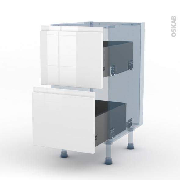 IPOMA Blanc brillant - Kit Rénovation 18 - Meuble casserolier  - 2 tiroirs - L40xH70xP60