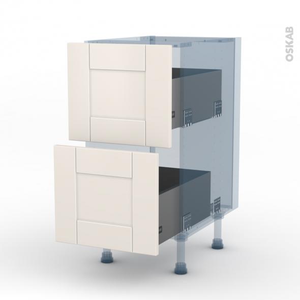 FILIPEN Ivoire - Kit Rénovation 18 - Meuble casserolier  - 2 tiroirs - L40xH70xP60