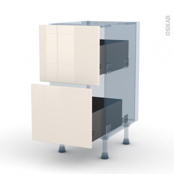 KERIA Ivoire - Kit Rénovation 18 - Meuble casserolier  - 2 tiroirs - L40xH70xP60