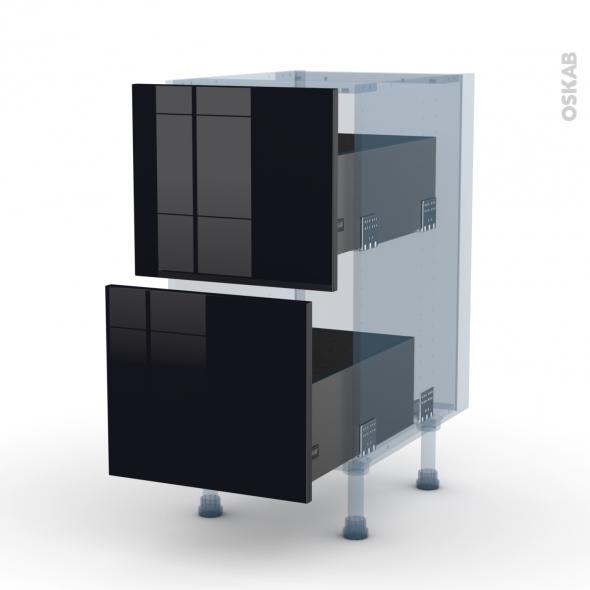 KERIA Noir - Kit Rénovation 18 - Meuble casserolier  - 2 tiroirs - L40xH70xP60