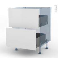 GINKO Blanc - Kit Rénovation 18 - Meuble casserolier - 2 tiroirs - L60xH70xP60
