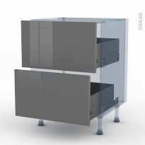 STECIA Gris - Kit Rénovation 18 - Meuble casserolier  - 2 tiroirs - L60xH70xP60