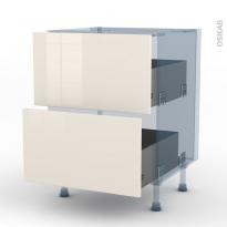 KERIA Ivoire - Kit Rénovation 18 - Meuble casserolier  - 2 tiroirs - L60xH70xP60