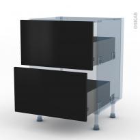GINKO Noir - Kit Rénovation 18 - Meuble casserolier  - 2 tiroirs - L60xH70xP60