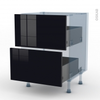 KERIA Noir - Kit Rénovation 18 - Meuble casserolier  - 2 tiroirs - L60xH70xP60
