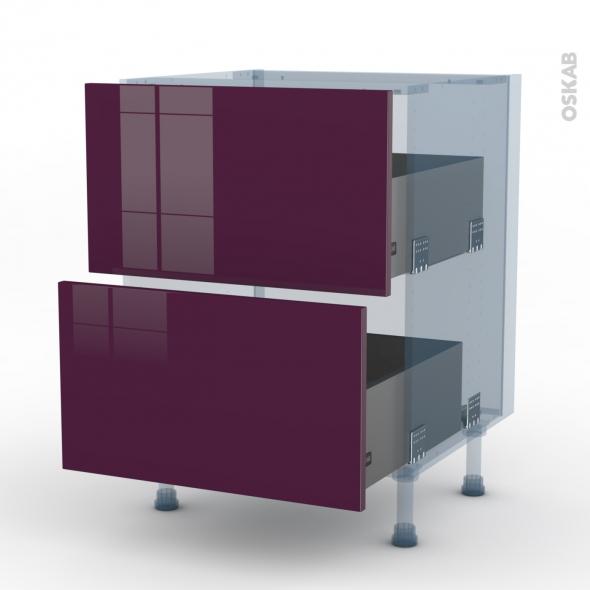 KERIA Aubergine - Kit Rénovation 18 - Meuble casserolier  - 2 tiroirs - L60xH70xP60