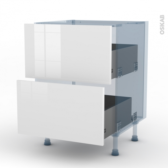 STECIA Blanc - Kit Rénovation 18 - Meuble casserolier  - 2 tiroirs - L60xH70xP60