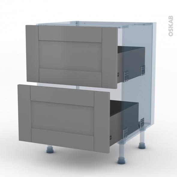 FILIPEN Gris - Kit Rénovation 18 - Meuble casserolier  - 2 tiroirs - L60xH70xP60