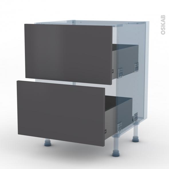 GINKO Gris - Kit Rénovation 18 - Meuble casserolier  - 2 tiroirs - L60xH70xP60
