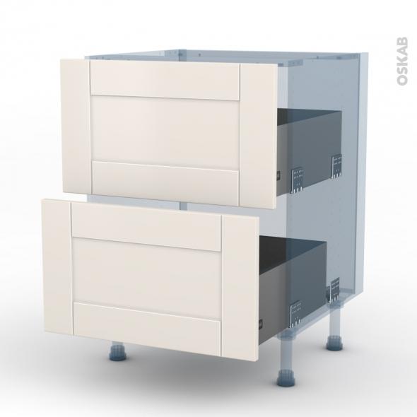 FILIPEN Ivoire - Kit Rénovation 18 - Meuble casserolier  - 2 tiroirs - L60xH70xP60