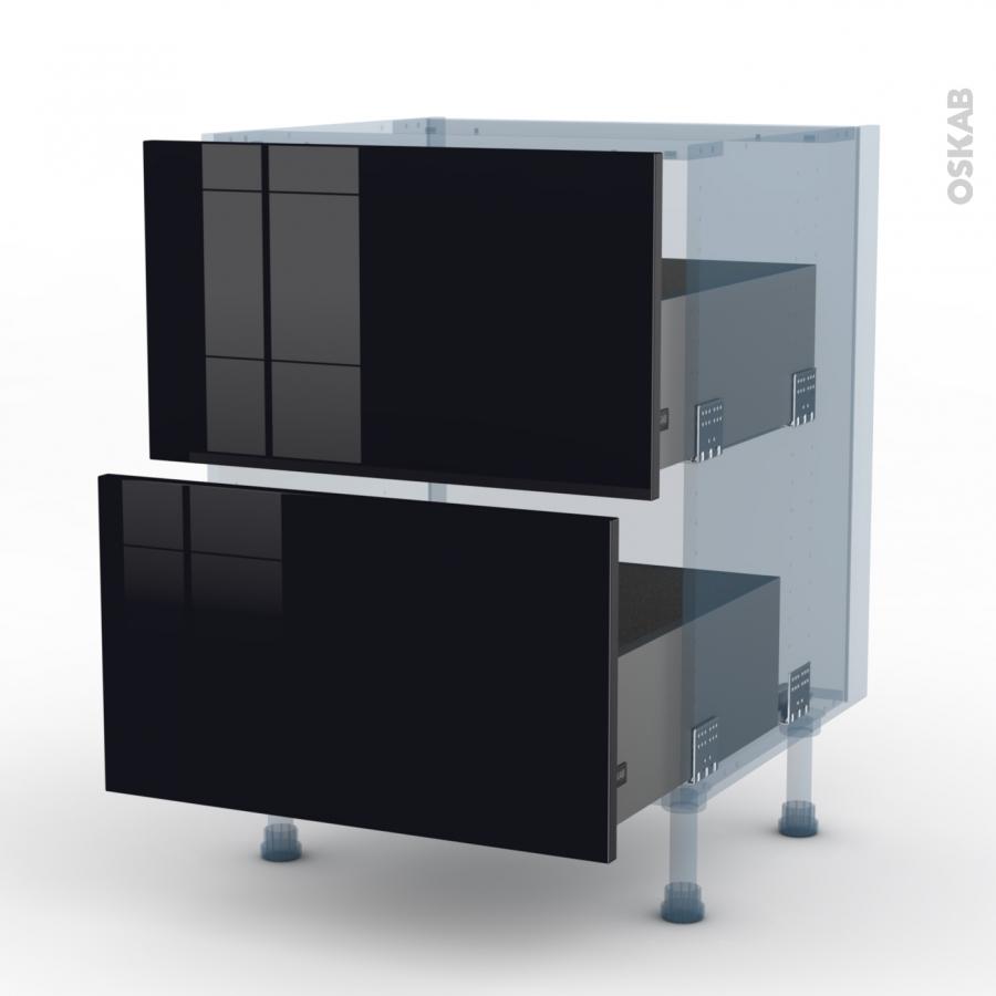 Keria noir kit r novation 18 meuble casserolier 2 tiroirs for Meuble cuisine kit
