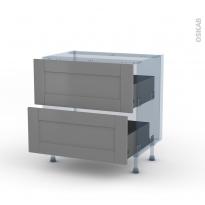 FILIPEN Gris - Kit Rénovation 18 - Meuble casserolier  - 2 tiroirs - L80xH70xP60