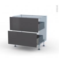 GINKO Gris - Kit Rénovation 18 - Meuble casserolier  - 2 tiroirs - L80xH70xP60