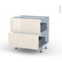 KERIA Ivoire - Kit Rénovation 18 - Meuble casserolier  - 2 tiroirs - L80xH70xP60