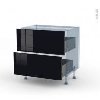 KERIA Noir - Kit Rénovation 18 - Meuble casserolier  - 2 tiroirs - L80xH70xP60