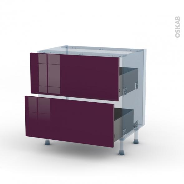 KERIA Aubergine - Kit Rénovation 18 - Meuble casserolier  - 2 tiroirs - L80xH70xP60