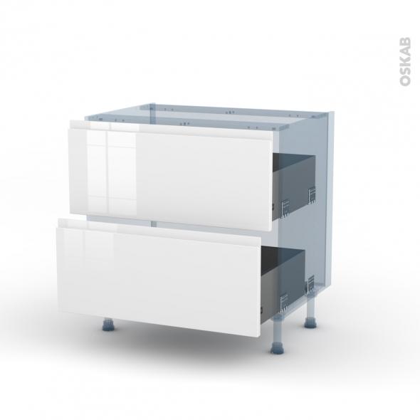 IPOMA Blanc - Kit Rénovation 18 - Meuble casserolier  - 2 tiroirs - L80xH70xP60