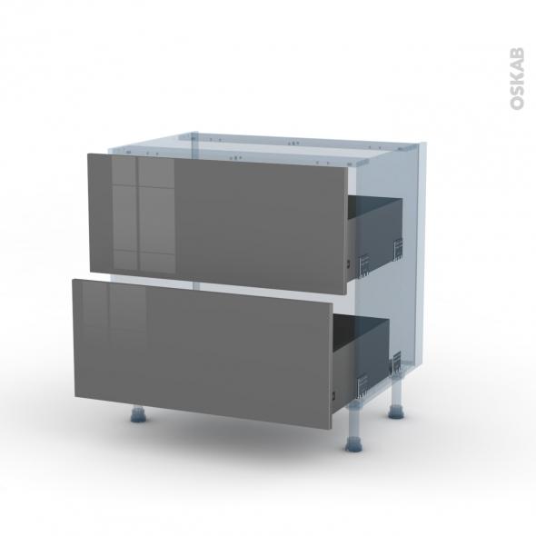 STECIA Gris - Kit Rénovation 18 - Meuble casserolier  - 2 tiroirs - L80xH70xP60