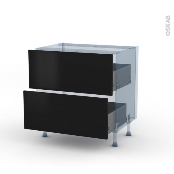 GINKO Noir - Kit Rénovation 18 - Meuble casserolier  - 2 tiroirs - L80xH70xP60