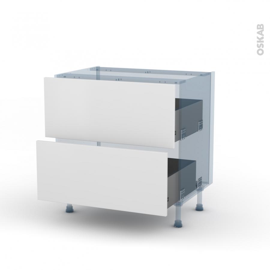 Ginko blanc kit r novation 18 meuble casserolier 2 tiroirs for Meuble cuisine kit