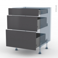 GINKO Gris - Kit Rénovation 18 - Meuble casserolier  - 3 tiroirs - L60xH70xP60