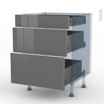 STECIA Gris - Kit Rénovation 18 - Meuble casserolier  - 3 tiroirs - L60xH70xP60