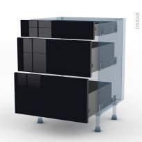 KERIA Noir - Kit Rénovation 18 - Meuble casserolier  - 3 tiroirs - L60xH70xP60