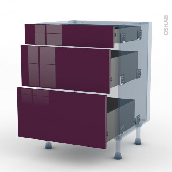 KERIA Aubergine - Kit Rénovation 18 - Meuble casserolier  - 3 tiroirs - L60xH70xP60
