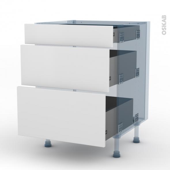 GINKO Blanc - Kit Rénovation 18 - Meuble casserolier - 3 tiroirs - L60xH70xP60