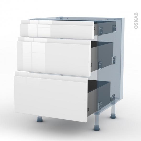 IPOMA Blanc - Kit Rénovation 18 - Meuble casserolier  - 3 tiroirs - L60xH70xP60