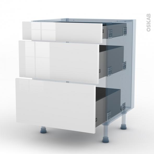 STECIA Blanc - Kit Rénovation 18 - Meuble casserolier  - 3 tiroirs - L60xH70xP60