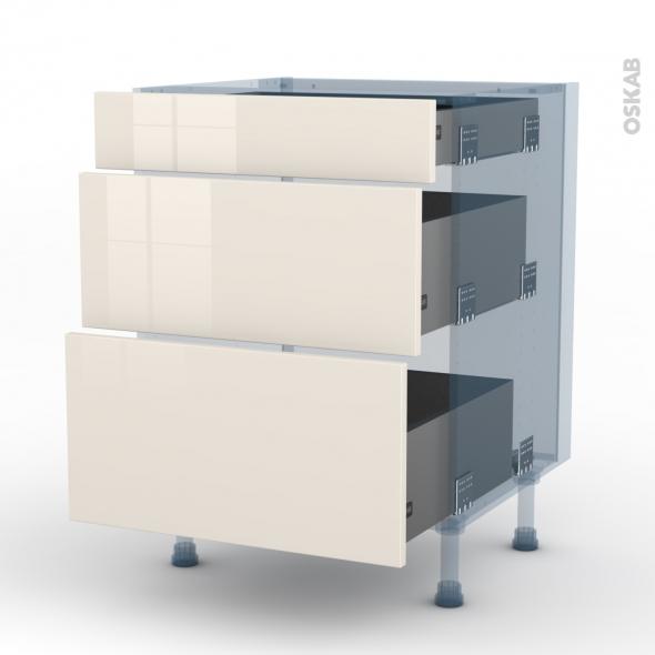 KERIA Ivoire - Kit Rénovation 18 - Meuble casserolier  - 3 tiroirs - L60xH70xP60