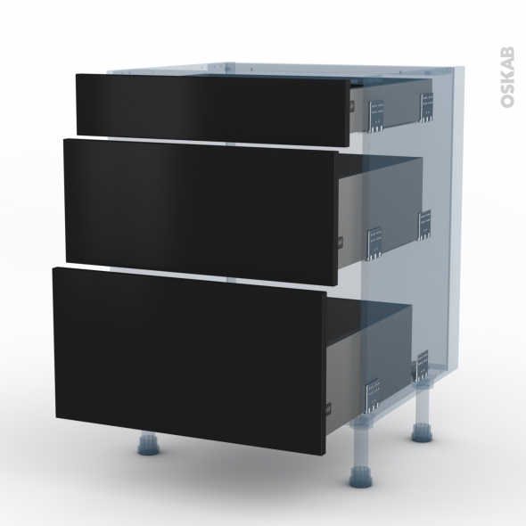 GINKO Noir - Kit Rénovation 18 - Meuble casserolier  - 3 tiroirs - L60xH70xP60