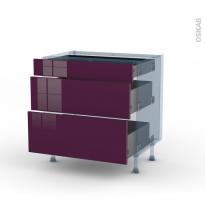 KERIA Aubergine - Kit Rénovation 18 - Meuble casserolier - 3 tiroirs - L80xH70xP60