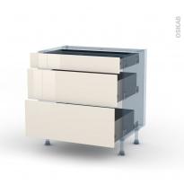 KERIA Ivoire - Kit Rénovation 18 - Meuble casserolier - 3 tiroirs - L80xH70xP60
