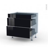 KERIA Noir - Kit Rénovation 18 - Meuble casserolier - 3 tiroirs - L80xH70xP60