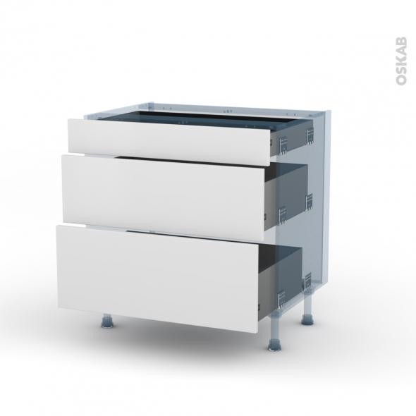 GINKO Blanc - Kit Rénovation 18 - Meuble casserolier - 3 tiroirs - L80xH70xP60